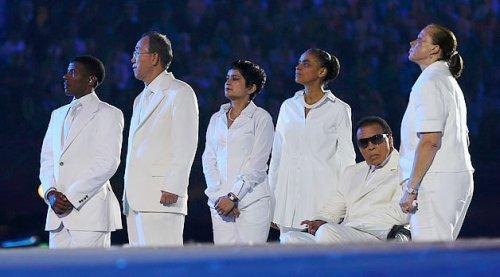 (Haile Gebrselassie, Ban Ki-Moon, Shami Chakrabarti, Marina Silva e  Muhammad Ali durante a cerimônia de abertura …)